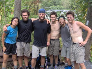 Me at 18yrs old, posing for a photo with the Sobohobos, friends I met hiking the Appalachian Trail