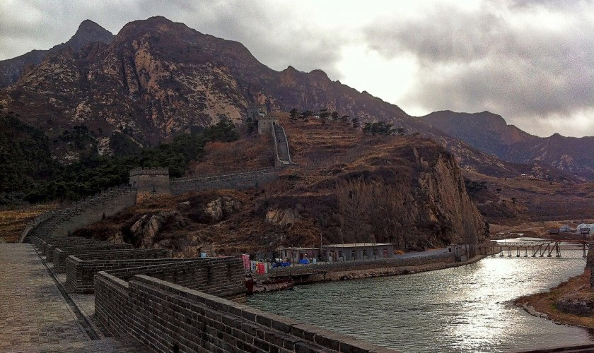 Jiumenkou- One of the only places where the Great Wall actually crosses over water.