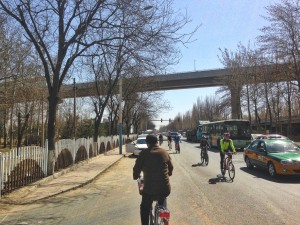 Weekend warriors riding through the Beijing outskirts