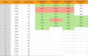 The spreadsheet for our training schedule. Green highlight means we met our goal and red means we missed!